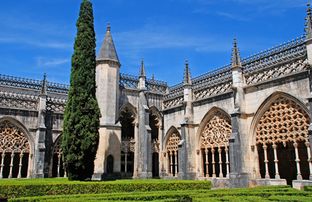 ornamental gothic medieval Batalha Monastery and garden, UNESCO World Heritage site, Portugal