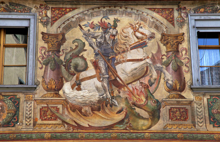 stein: Old beautiful fresco with  St. George and dragon on medieval building in Stein am Rhein, Switzerland