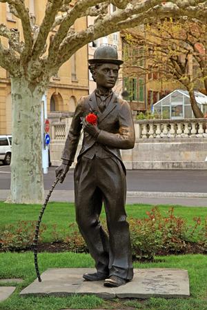 screenwriter: Bronze statue of Charlie Chaplin, Vevey, Switzerland