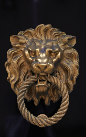 handle: antique door knob in the shape of brass lion on brown wood background Stock Photo