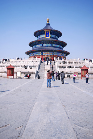 BEIJING, CHINA - MARCH 27,2010: Visitors at the Temple of Heaven in Beijing, China. The religious complex Temple of Heaven