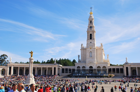 FATIMA, PORTUGAL - MAY 02,2009: Worshipers attend an international pilgrimage at Fatima Sanctuary in Fatima, Portugal