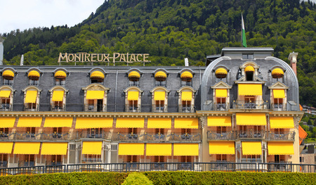 Montreux, Switzerland - May 9,2013: Fairmont Le Montreux Palace Hotel a five star luxury hotel at the Swiss Riviera, Montreux, Switzerland on May 9, 2013. Built in 1906, containing 235 rooms and suites