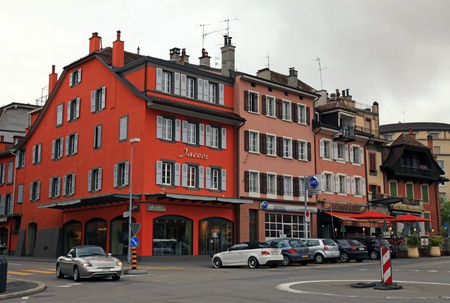 Vevey, Switzerland - May 10,2013: Street in Vevey, Switzerland. Vevey is a small resort town on the Swiss Riviera.