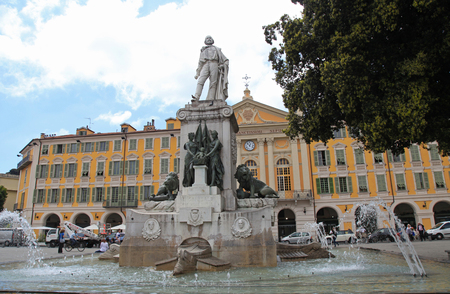 garibaldi: NICE, FRANCE - MAY 14,2013:Statue of Garibaldi on Place Garibaldi on May 14, 2013 in Nice, France. Place Garibaldi is a pretty monumental example of Baroque architecture, spreading across the area between the Old Town and the town centre.