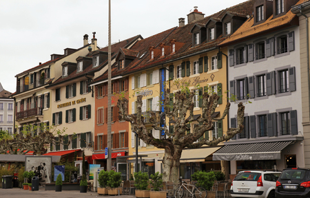 vevey: Vevey, Switzerland - May 10,2013: Street in Vevey, Switzerland. Vevey is a small resort town on the Swiss Riviera.