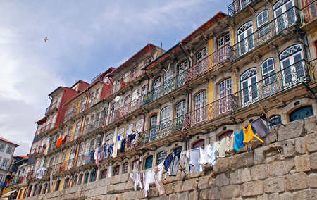 View of old buildings at Porto city riverbank  photo