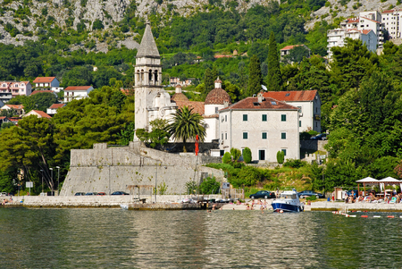 PERAST, MONTENEGRO - JULY 18, 2010: Beautiful landscape of Perast - historic town on the shore of the Boka Kotor bay (Boka Kotorska), Montenegro, Europe. Kotor Bay is a UNESCO World Heritage Site.
