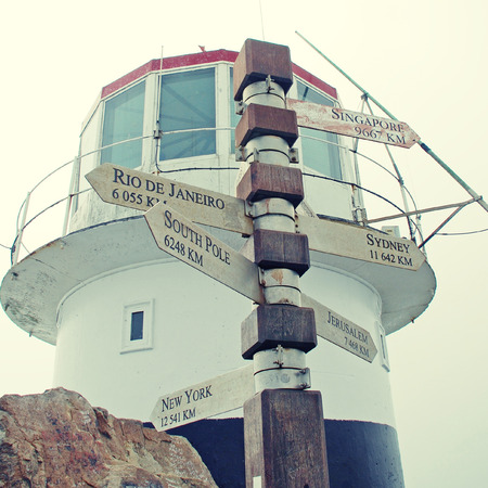 cape of good hope: Sign and lighthouse at Cape of Good Hope, South Africa