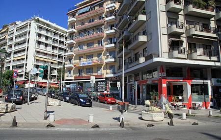 residential neighborhood: THESSALONIKI, GREECE - JULY 29, 2013: The modern residential neighborhood in Thessaloniki, Greece. Thessaloniki is the second largest city in Greece.