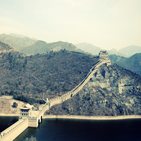 parapet wall: landscape with Great Wall, China.