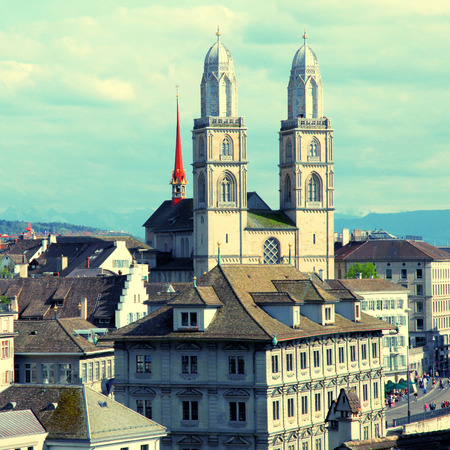 grossmunster cathedral: Zurich cityscape with old buildings and the Grossmunster cathedral , Switzerland.