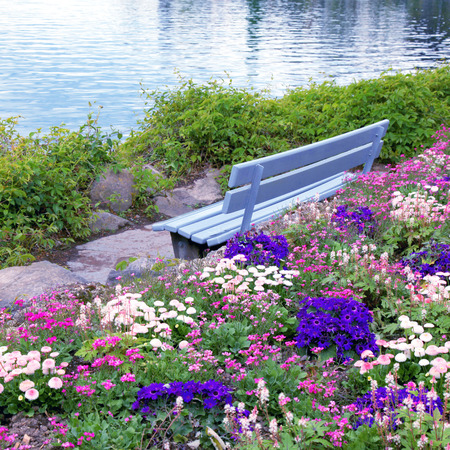 alpen: Beautiful landscape with wooden bench and flowers at alpen lake in Montreux (Switzerland)