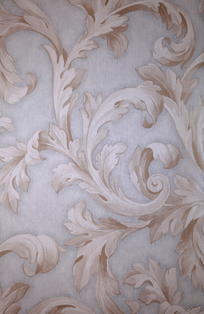 Vintage grey victorian wallpaper with beige baroque vignette Stock Photo