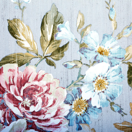 antique frame: Vintage grey wallpaper with color floral victorian pattern, square toned image