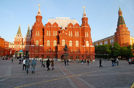 MOSCOW, RUSSIA - MAY 16, 2011: Beautiful city view of The State Historical Museum from Manezhnaya Square in Moscow, Russia