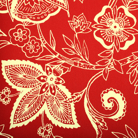 victorian wallpaper: Red vintage wallpaper with white vignette victorian pattern, square toned image