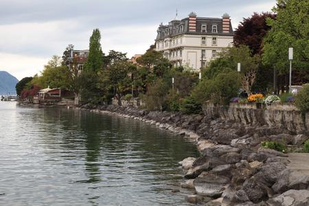 A beautiful landscape with Lake Geneva promenade in Montreux, Switzerland. photo