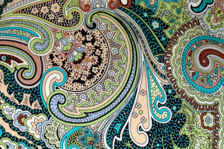 colorful vintage fabric with blue and brown paisley print, horizontal image photo