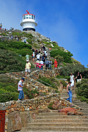 cape of good hope: CAPE TOWN, SOUTH AFRICA - DECEMBER 29, 2007: Tourists and Lighthouse on Cape of Good Hope, Cape Town, South Africa