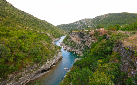 tara: Panoramic landscape with scenic deep canyon and blue Tara river in Montenegro mountains