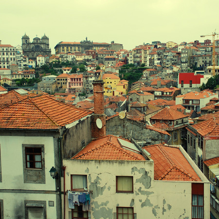 apartment tower old town: Red roofs of old building in Ribeira, the Old Town of Porto, Portugal.