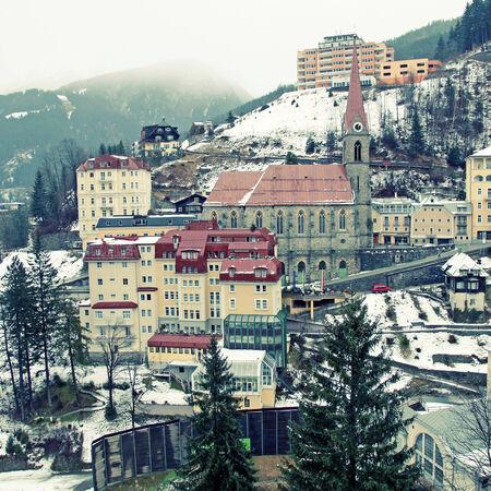 Famous Austrias resort town of Bad Gastein in Alps mountains.  photo