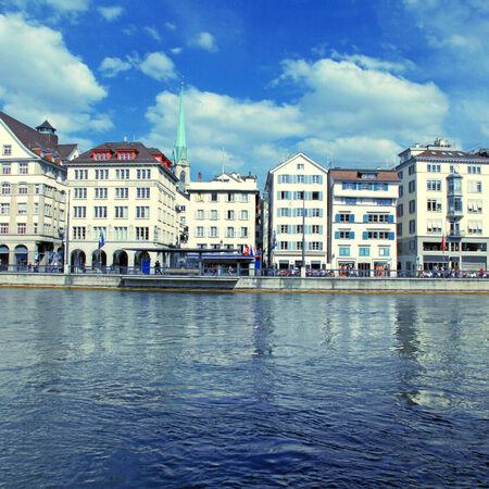 Zurich cityscape and river Limmat, Switzerland.  photo