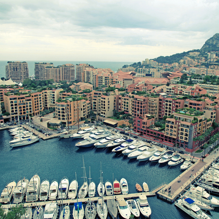 cote d'azur: Panoramic landscape with harbor, lots of yachts in famous Monte Carlo, Cote dAzur.