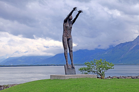 lac: Volleyball sculpture at Lake Geneva (Leman Lac), Montreux, Switzerland Editorial