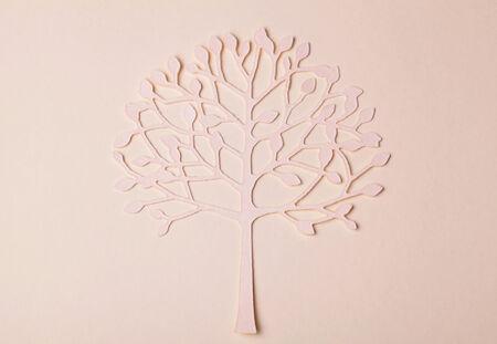 handmade paper: Beautiful handmade paper tree silhouette on paper background