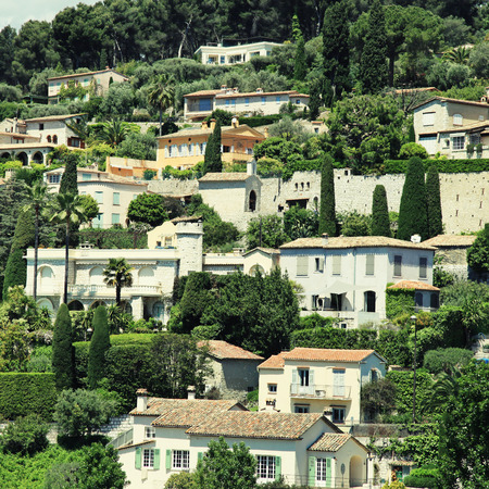 vaucluse: Beautiful view of hill houses in the village Saint-Paul-de-Vence , Provence, South France. Square toned image