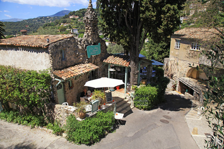 vence: SAINT-PAUL-DE-VENCE, FRANCE - MAY 12, 2013: La Petite Shapelle Restaurant and  beautiful medieval houses in Saint Paul de Vence, one of the oldest towns of the Provence, France, famous town of painters and galleries.