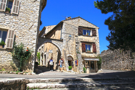 vence: SAINT-PAUL-DE-VENCE, FRANCE - MAY 12, 2013: Beautiful old houses landscape of Saint Paul de Vence, one of the oldest towns of the Provence, France, famous town of painters and galleries. Editorial