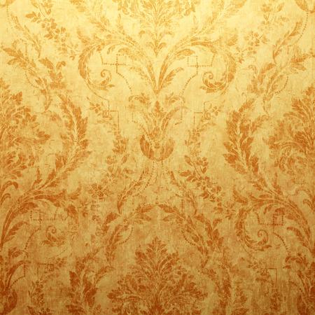 ゴールデン荒廃したビクトリア朝、ビンテージ壁紙バロック ビネットと広場トーンのイメージ