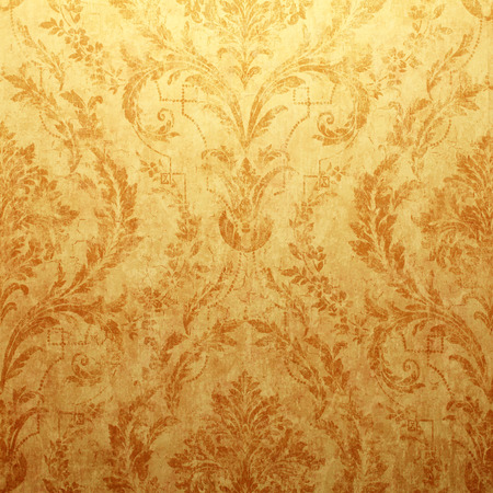 Vintage golden run-down victorian wallpaper with baroque vignette, Square toned image