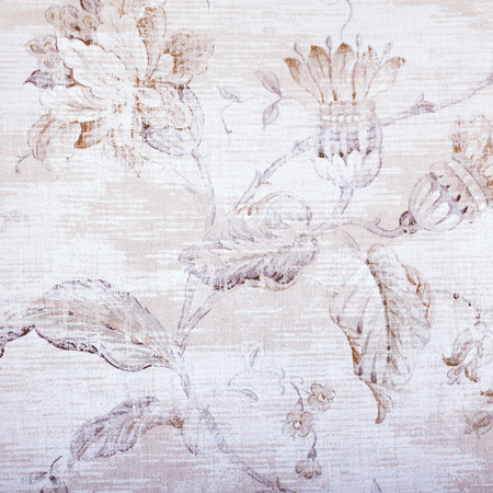textile pattern: vintage beige wallpaper with shabby chic floral pattern. Square toned image, instagram effect