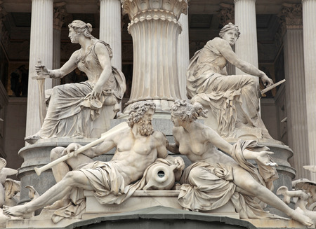 pallas: Fragments of the Pallas Athena Fountain in front of the Austrian Parliament in Vienna, Austria.  The figures symbolize the rivers Danube, Inn, Elbe and Moldau.