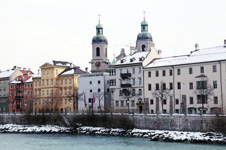 inn: Winter view of Innsbruck and Inn river, Tirol, Austria Stock Photo