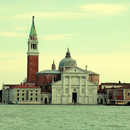 isola: The church of San Giorgio Maggiore on Isola San Giorgio, Venice, Italy. Square toned image,  effect Stock Photo