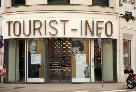 4 5 year old: VIENNA, AUSTRIA - FEBRUARY 4, 2015: Tourist info building on Albertinaplatz in Old center of Vienna, Austria. Nearly 5 million guests per year decide to visit Vienna and spend some days at this place of history and culture.