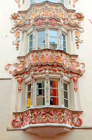 bow window: Ornate bow windows of medieval buildings in Old Town, Innsbruck, Austria, Tyrol