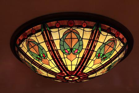 Multicolor glass tiffany style lamp photo
