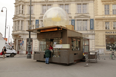 VIENNA, AUSTRIA - FEBRUARY 4, 2015: Kiosk with fast food at Old Town in Vienna, Austria.