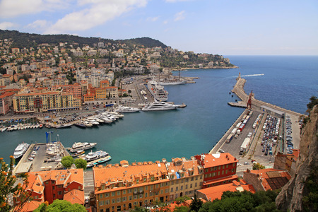cote d'azur: Panoramic view of Nice (Cote dAzur, France) with harbor, ships and lighthouse. View from above Stock Photo
