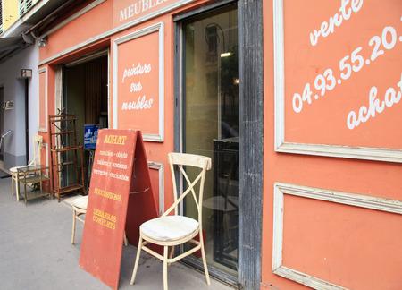 NICE, FRANCE - MAY 14, 2013: Antique shop, Nice, France