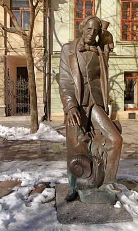 hans: Statue of Hans Christian Andersen in Bratislava, Slovakia. Winter view