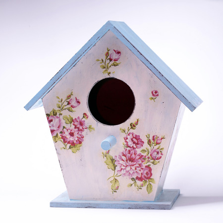 wooden handmade: Wooden handmade colorful bird house, square image Stock Photo