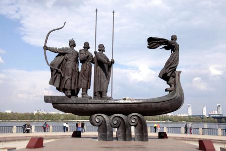 legendary: Monument to legendary founders of Kiev: Kiy Schek Khoryv and Lybid on Dnieper river coast Kiev Ukraine. Editorial