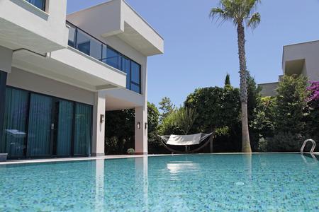 Swimming pool at the modern luxury villa, Turkey Редакционное